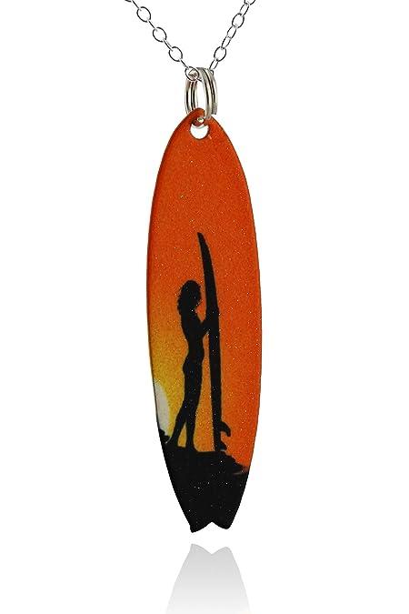 Pintado latón tabla de surf colgante collar, Hawaiian Sunset Surfer cadena de plata de ley