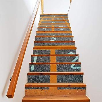 13 piezas/juego de rayuela 3D escalera pared piso calcomanía mural decoración del hogar 18 * 100 cm: Amazon.es: Bricolaje y herramientas