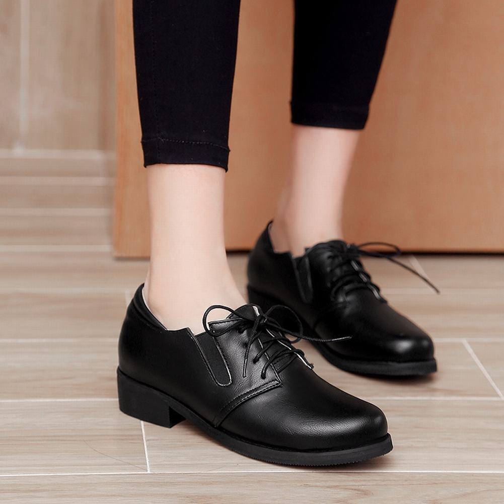 Carolbar Womens Concise Mid Heel Lace Up Casual Shoes