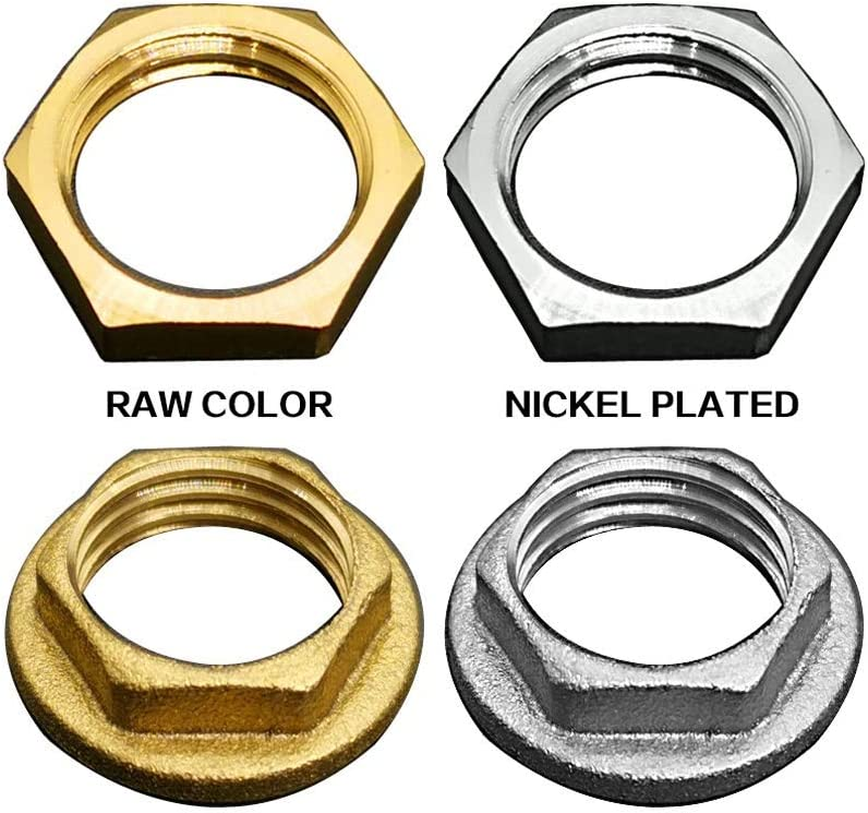 1//8 1//4 3//8 1//2 3//4 1 Nickel Plated BSP Female M10//12//14//16//18 Brass Hex Lock Nut With//No Flange Size : No Flange, Thread Specification : 1