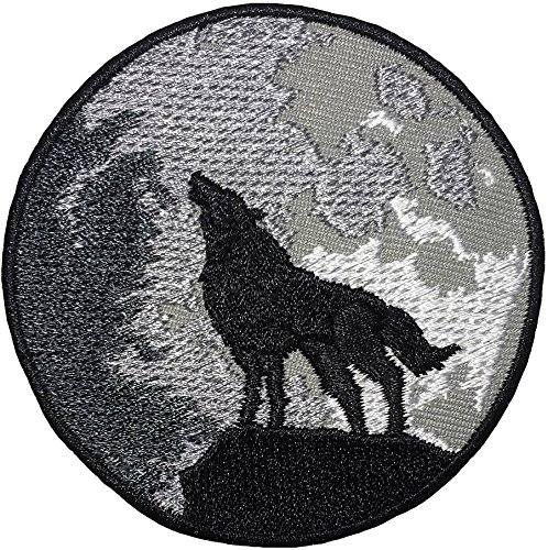 The Lone Wolf Full Moon Shadow Size 3 Inch.Biker Heavy Metal Horror Punk Emo Rock DIY Logo Jacket Vest Shirt hat Blanket Backpack T Shirt Patch Embroidered Appliques Symbol Badge Cloth Sign Costume