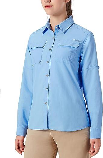 NAVISKIN Camisa Casual de Manga Larga Protección UV UPF 50 para Mujer Camiseta Deporte Acampada Marcha Pesca Térmica Ligero Secado Rápido: Amazon.es: Ropa y accesorios