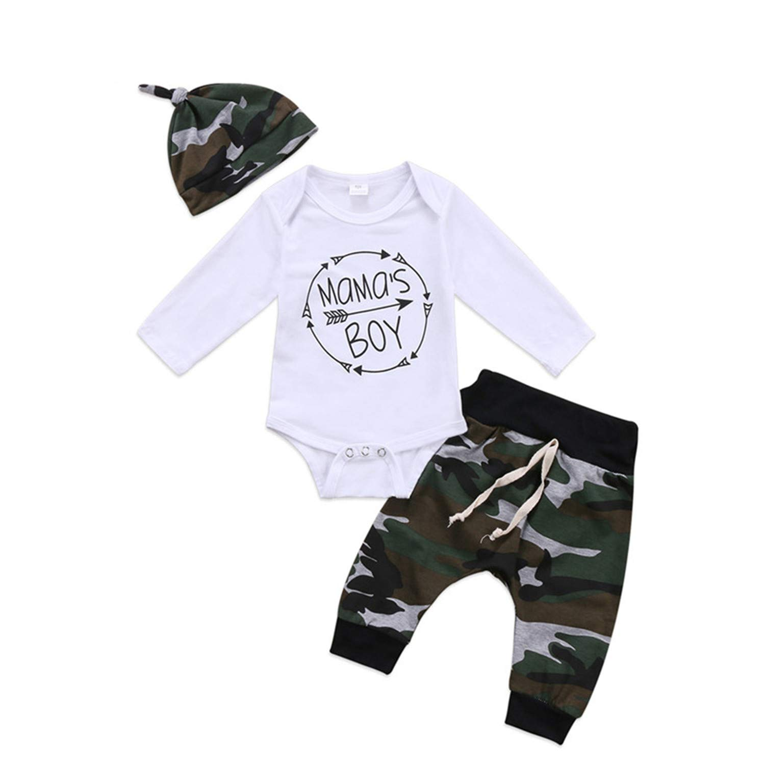 New 3Pcs Set Newborn Toddler Infant Baby Boy Long Sleeve Tops Romper Camouflage Pants Hat 3Pcs Kids Outfits Clothes 3M by Sarahwu