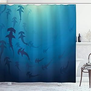 "Ambesonne Sea Animals Shower Curtain, Hammerhead Shark School Scan Ocean Dangerous Predator Wild Nature Illustration, Cloth Fabric Bathroom Decor Set with Hooks, 70"" Long, Navy Blue"