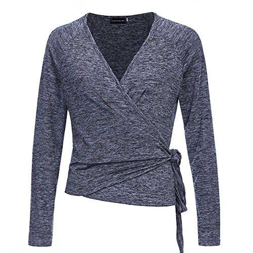 Fancyqube Women's Raglan Long Sleeve Shirt Knit Top Deep V-Neck Ballet Wrap Cardigan Grey, Medium (Wrap Cardigan)