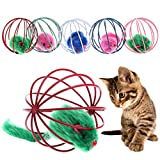 NNDA CO 2Pcs Funny Pet Cat Lovely Kitten Gift Interactive Play Toys With Fake Mouse Ball, 6.2 cm/ 2.44""