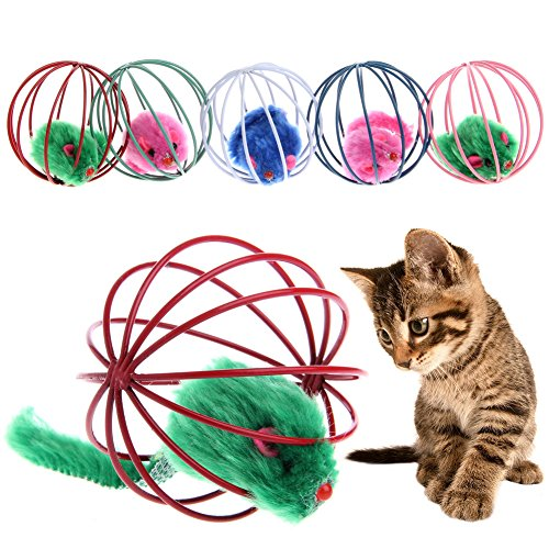 Cat toys,NNDA CO 2Pcs Funny Pet Cat Lovely Kitten Gift Interactive Play Toys With Fake Mouse Ball, 6.2 cm/ 2.44