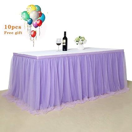 b003054cf B-COOL Falda de mesa de tutú rosa de tutú para mesa de comedor, para ...