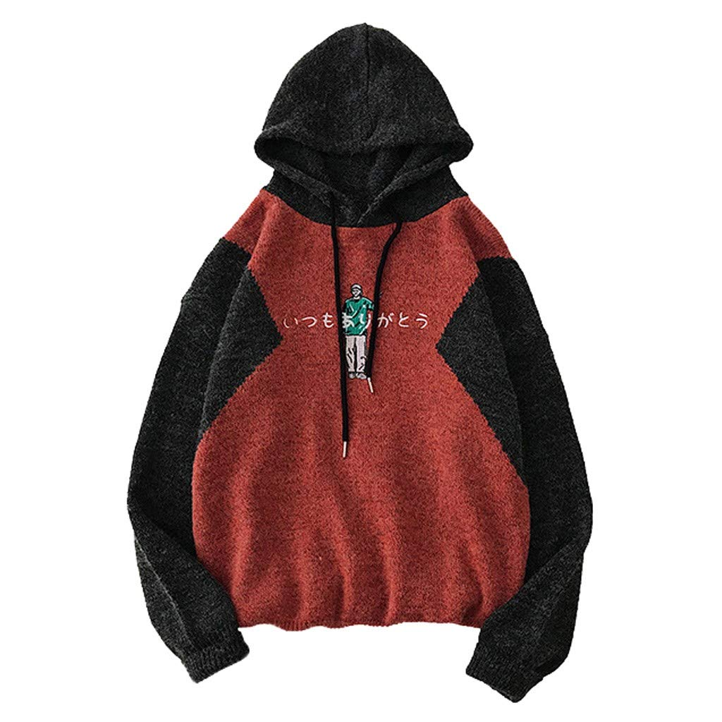JJHAEVDY Men's Soft Cotton Pullover Sweater Printed Long Sleeve Sweatshirts Autumn Midweight Knitted T-Shirts Hoodie Red by JJHAEVDY