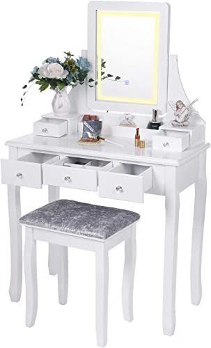 BEWISHOME Vanity Set with Lighted Mirror Dimming, Touch Screen Switch Cushioned Stool Dressing Table Makeup Vanity Makeup Table 5 Drawers 2 Dividers Removable Organizers White FST07W