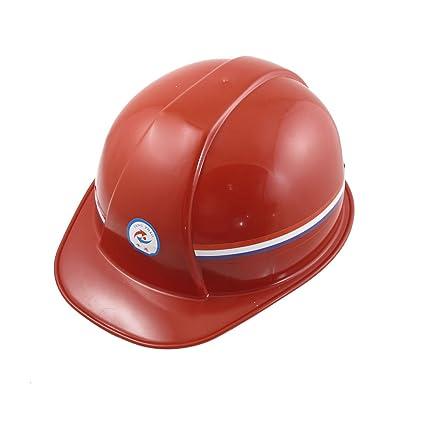 Rojo cinta para la cabeza ajustable de plástico casco de seguridad