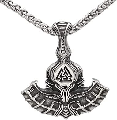 Handmade Stainless Steel and Silver Viking Jewelry for Men and Women Nordic viking thor/'s hammer Odin rune pendant necklace
