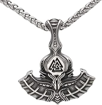 GuoShuang Nordic Viking Mjolnir Thor Hammer Valknut Stainless Steel Necklace for Men with Valknut Gift Bag