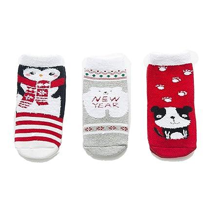 ZHRUI 3 Pares de Calcetines de Navidad para niños de Dibujos Animados patrón Lindo Gruesos Calcetines