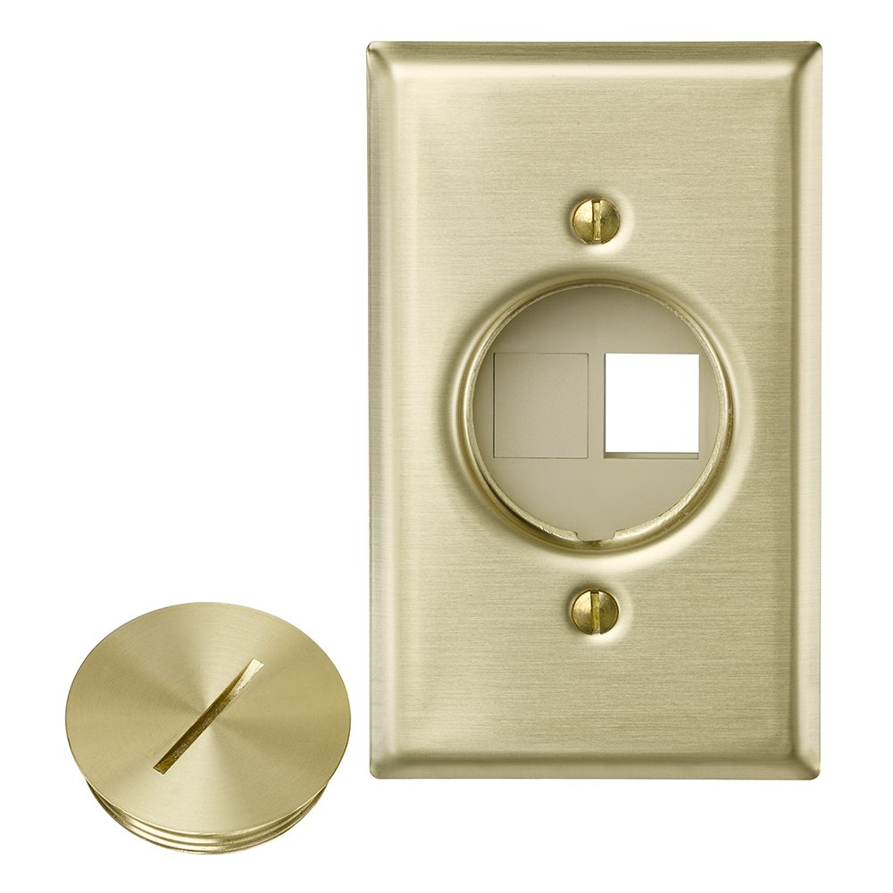 Leviton 41652 QuickPort Floor Jack Assembly, Two Blank Inserts, Solid Brass by Leviton