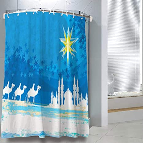 LOLYeah Shower Curtains 78 X 72 Inches Classic Three Magic Scene Shining Star Bethlehem Religion Palm