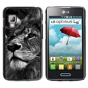 Caucho caso de Shell duro de la cubierta de accesorios de protección BY RAYDREAMMM - LG Optimus L5 II Dual E455 E460 - Lion Black White Picture Nature Big Cat