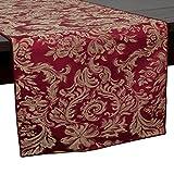 Ultimate Textile Miranda 14 x 54-Inch Damask Table Runner Bordeaux