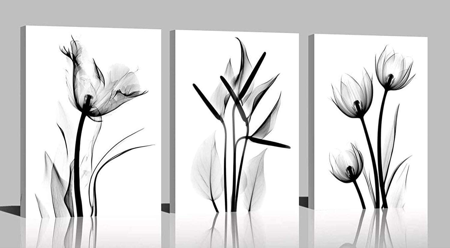 YPY Oil Painting Elegant Flowers 3 Panels Black and White Color Tulip Print on Canvas Wall Art for Home Decor 16x24in