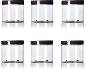 16 oz Big Mouth Clear Plastic PET Jar with Black Smooth...