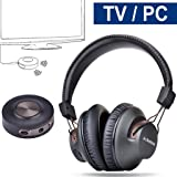 Avantree Wireless Headphones for TV with Bluetooth Transmitter SET, Plug & Play, No Lip Sync Delay, LONG RANGE, 40 Hours Battery, For RCA / AUX Ported TVs, PC / Video Game, BT 4.2-HT3189[24M Warranty]