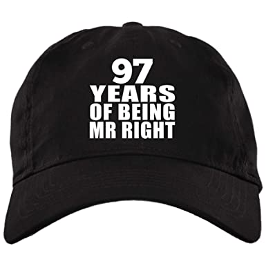 a8a7d6e01f7 Amazon.com  97 Years of Being Mr Right - Brushed Twill Cap Black One ...