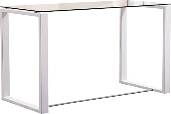 Mesa de oficina o despacho blanca de 100cm con cristal ...