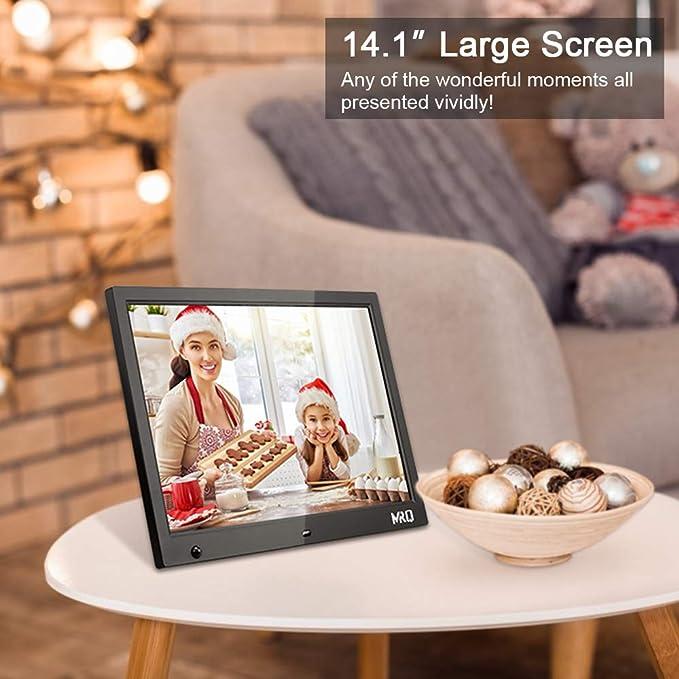 MRQ Marco de Fotos Digital de 14.1 Pulgadas, Marco de Video Imagen de 1280x800 HD con Sensor de Movimiento, Libro Electrónico, Alarma, Admite Múltiples ...