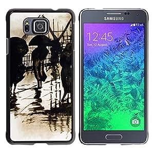 iKiki Tech / Estuche rígido - Retro Rain Vintage Painting Art - Samsung GALAXY ALPHA G850