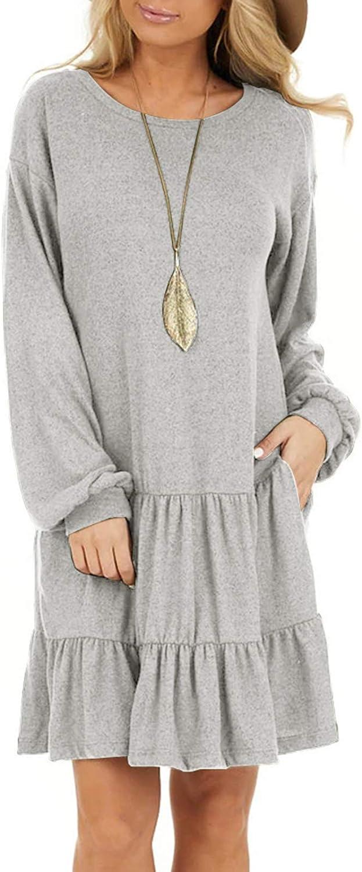 AUSUN Women's Long Sleeve Ruffle Tie Waist Swing T unic Dress Casual Sweater Dresses with Pockets