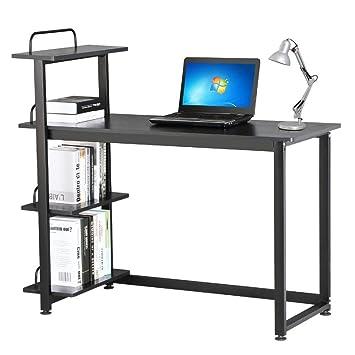 tinkertonk - oficina en casa negro para ordenador con estantería con 4 estantes estación de trabajo portátil impresora de mesa con estante: Amazon.es: Hogar
