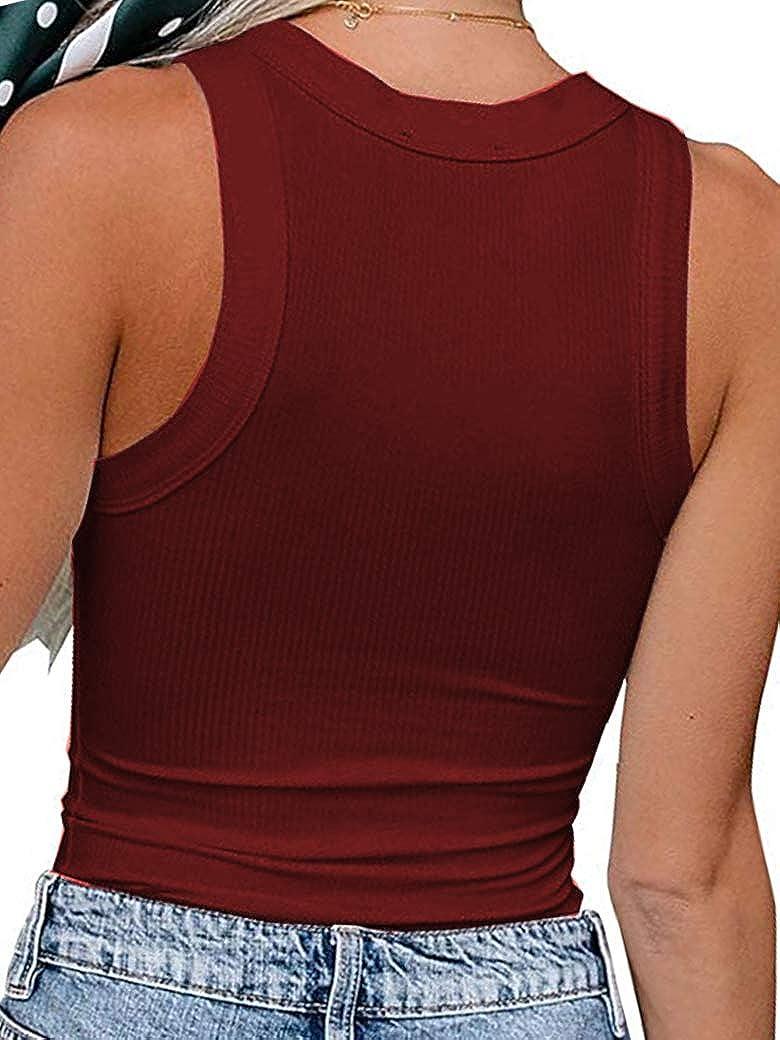 Sherosa Womens Casual Basic Ribbed Tank Tops Summer Slim Knit Sleeveless Racerback Blouses