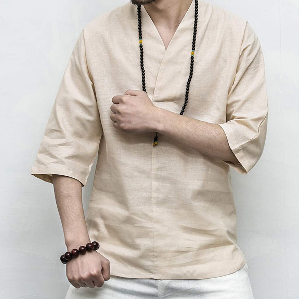 Men Linen Shirt Patchwork Seven Minute Sleeve Solid Loose V Neck Comfortable Classic T Shirt (M, Beige) by Pafei Men's shirts (Image #2)