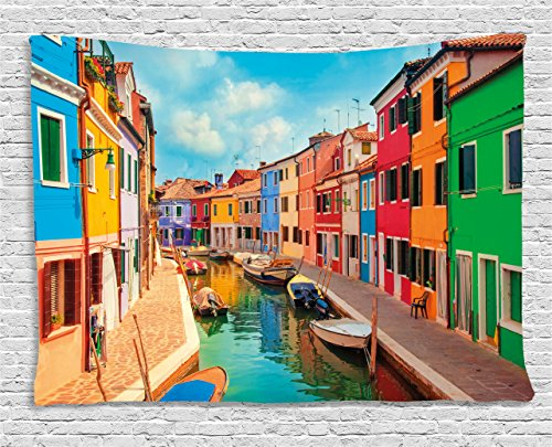 - Ambesonne Venice Tapestry, Colorful Buildings and Water Canal with Boats Burano Island in The Venetian Lagoon, Wide Wall Hanging for Bedroom Living Room Dorm, 80