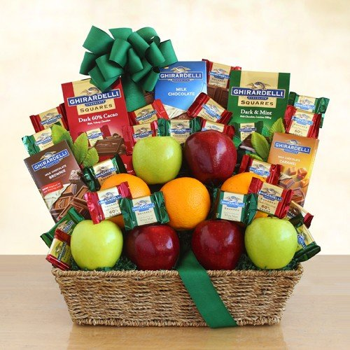 Healthy and Happy Gourmet Chocolate and Fruit Gift Basket by Organic Stores