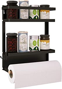 2 Tier Magnetic Spice Rack for Refrigerator with Hook,Foldable Spice Storage Fridge Shelf for Kitchen Organizer,Spice Rack for Cabinet,Great Space Container for Small Kitchen,Drill free (Black)