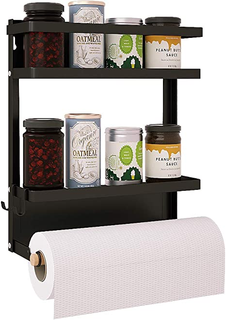 2 Tier Magnetic Rack for Spice Organizer with Paper Towel Holder Medium Apsan Magnetic Spice Rack for Refrigerator Black
