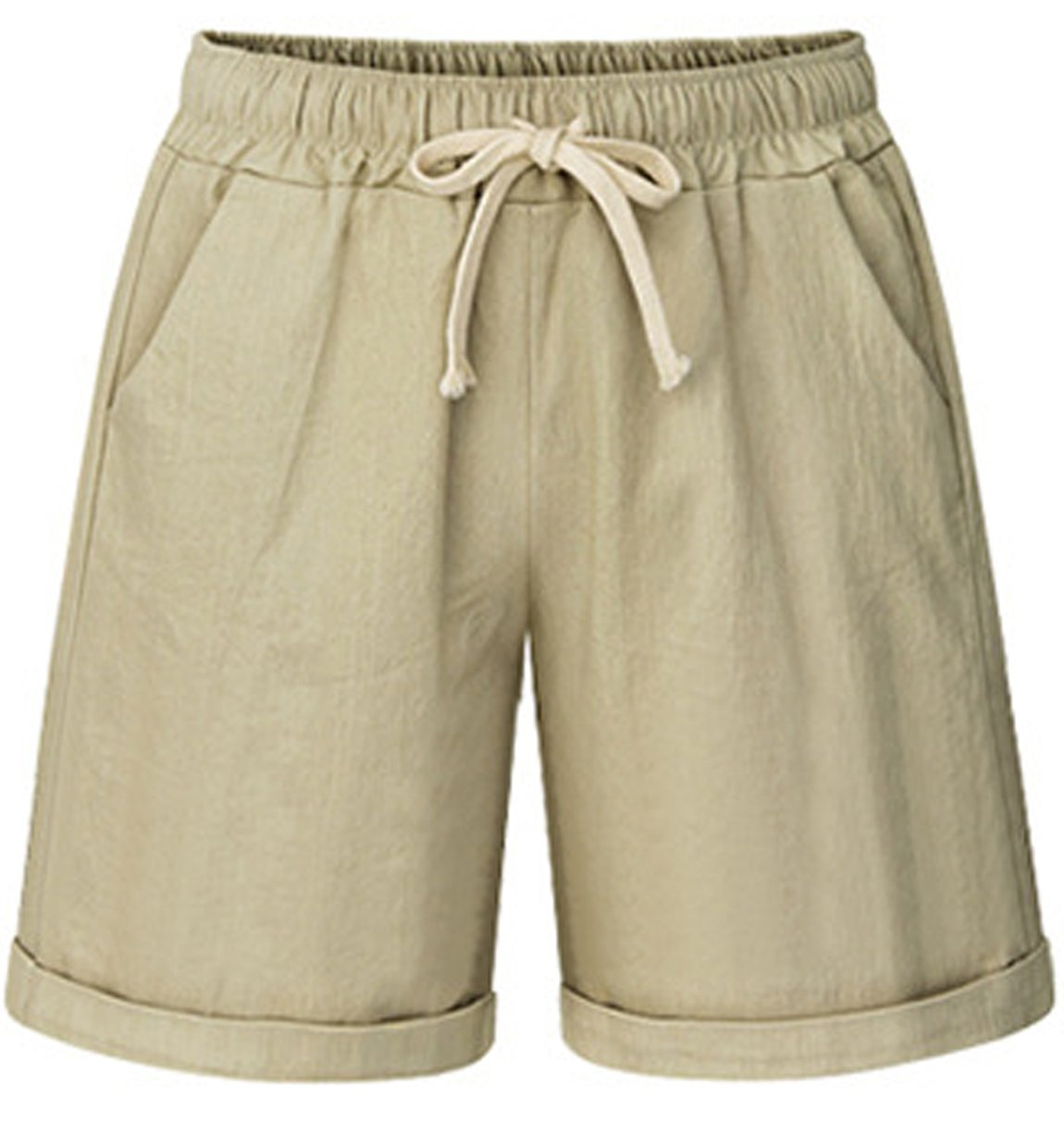 HOW'ON Women's Elastic Waist Casual Comfy Cotton Linen Beach Shorts with Drawstring Khaki M