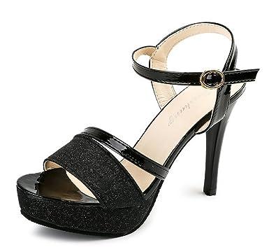 Easemax Damen Modisch Peep Toe Strass Schnalle High Heels Sandalen mit Stilettos