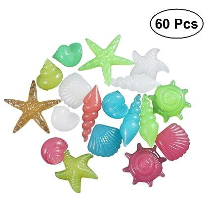 OUNONA 60 Piedras de Piedras de Colores Brillantes en la Oscuridad para Acuario Acuario pecera (