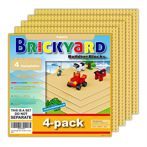 Brickyard Building Blocks [Improved Design] 4 Sand Baseplates, 10 x 10 Large Thick Base Plates for Building Bricks, for Activity Table or Displaying Compatible Construction Toys (4-Pack, Sand)
