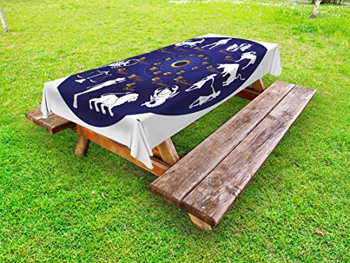 Lunarable Zodiac Outdoor Tablecloth, Wheel of Zodiac Map with Horoscope Signs Vintage Effects Celestial Scenery Print, Decorative Washable Picnic Table Cloth, 58 X 104 Inches, Blue (Celestial Family Map)