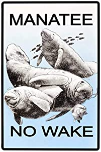 New Vintage Retro Metal Tin Sign Funny Cute Manatee No Wake Garage Home Kitchen Bar Pub Hotel Wall Decor Signs 12X8Inch