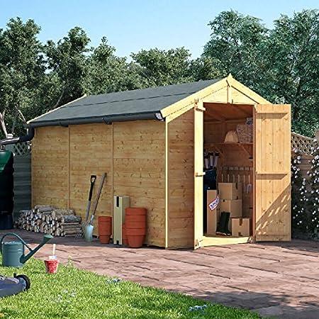 12 x 6 la lengua y Groove de madera cobertizo puerta doble sin ventanas Apex para techo y fieltro jardín cobertizos 12 ft 6 ft: Amazon.es: Jardín