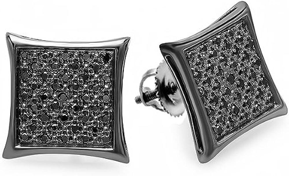 0.21 quilates (ctw) Oro blanco de 14 quilates con diamante negro real chapado en negro en forma de cometa para hombre Hip Hop Hielo Micro Pave Stud Pendientes 1/4 CT