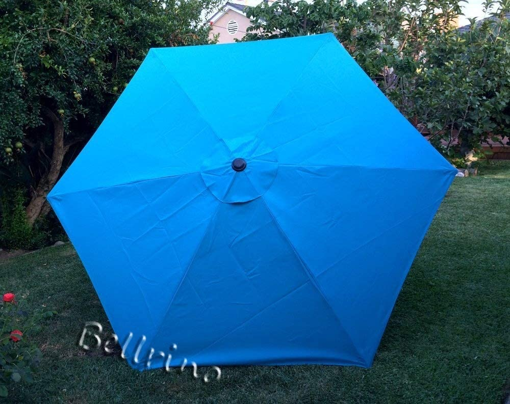 BELLRINO DECOR Replacement LAKE BLUE STRONG THICK Umbrella Canopy for 9ft 6 Ribs Lake Blue Canopy Only