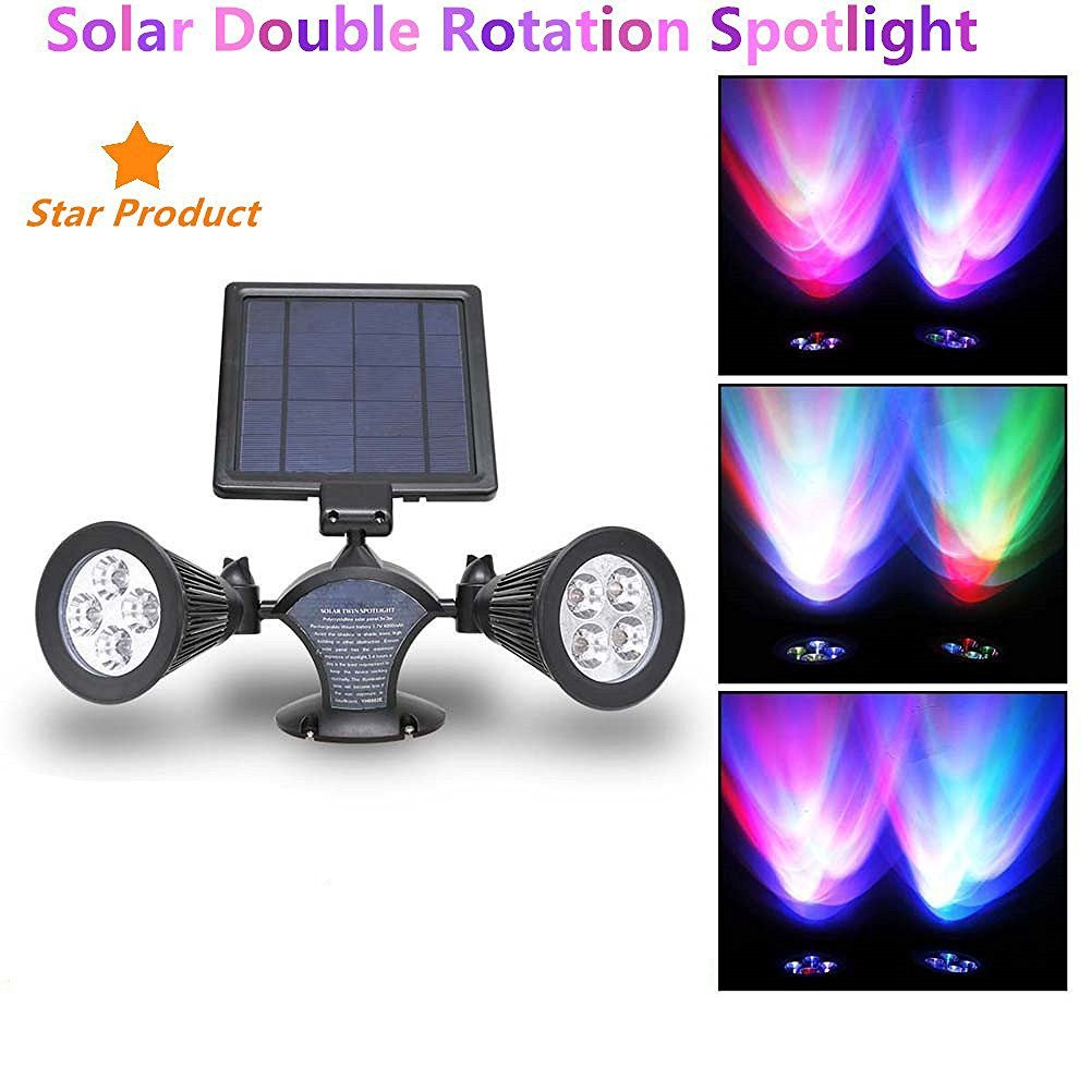 HowFine Multi-function Solar Energy Light Portable Controller for Home Garden Outdoor Camp, Solar Charger Bank System with 2 LED Light Bulb and USB Output (Dual Spotlight)