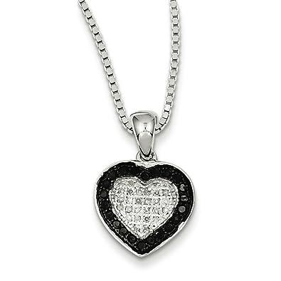 40456ef000ba0 Amazon.com: 925 Sterling Silver Rhodium-plated Black & White Diamond ...