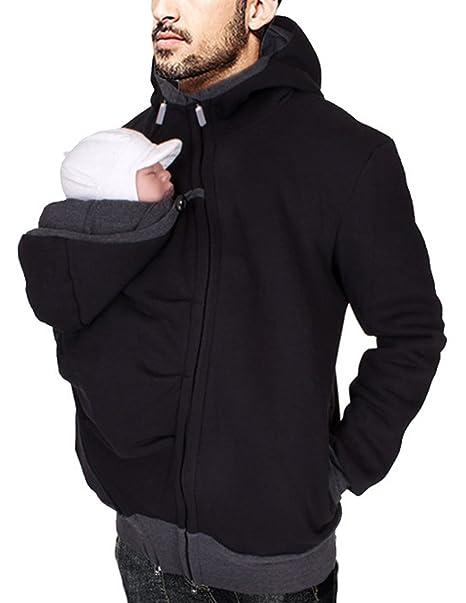 Boom Fashion Hombre Canguro Chaqueta Portabebés Sudadera con Capucha Casual Abrigo: Amazon.es: Ropa y accesorios
