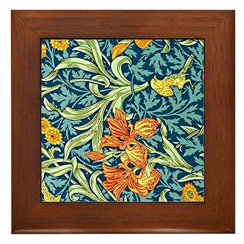 CafePress - William Morris Design: Iris Floral Pat - Framed Tile, Decorative Tile Wall Hanging